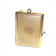 Elgin American Mfg Co Miniature Photo Album Gold Shell LOCKET Pendant RARE