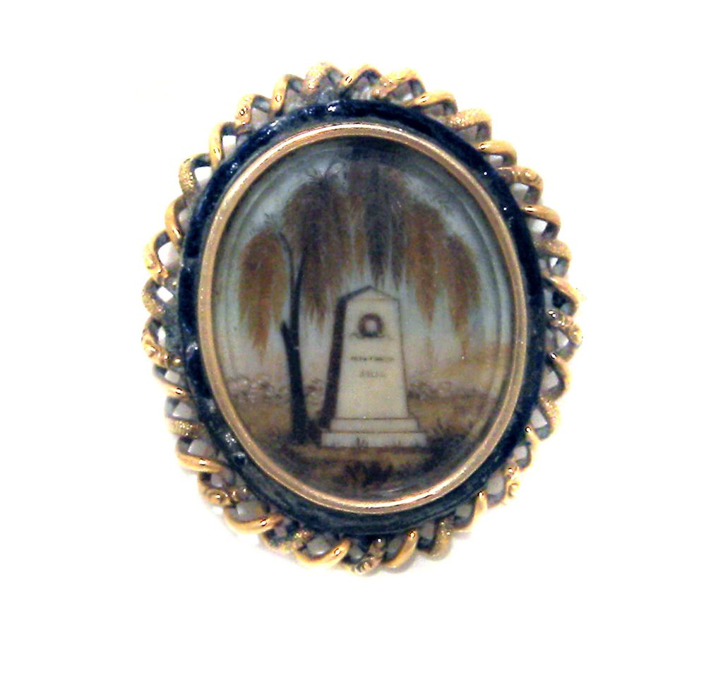 Antique Hair Art Mourning PIN Weeping Willow Very Old  RARE