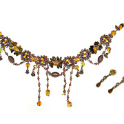 Beaded Choker Necklace Earrings Felicia SET Beads ENAMEL Bronzetone NEW
