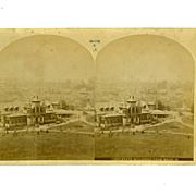 "Stereo Card Albumen 1876 International Exhibition 4 1/4"" x 7"" Stereoview"
