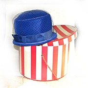 REDUCED Derby Church Hat with Box Royal Blue VELVETEEN NET BOW