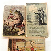 THREE Chromolithographic Advertising Cards COLOGNE Scented !