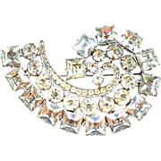 Kramer of NEW YORK Signed Brooch AUSTRIAN Rhinestones Pin Massive SWIRL 2 1/2""