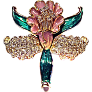 Large Enamel Rhinestones Pin BROOCH Iris Gold Tone STRIKING!