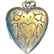 REDUCED Bates & Bacon Gold Filled Locket Heart PENDANT Ornate