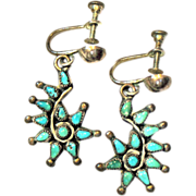 SOLD Native American Turquoise STERLING Silver Screw Back Earrings Vintage Will Convert to She