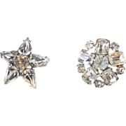 Two Vintage Pins Large Rhinestones Domed SPARKLY Silver Tone Settings