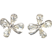 Two Matching Four Leaf CLOVER Pins Brooches SET Rhinestones Silver Tone