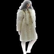 REDUCED *FREE SHIP IN US* Custom RUNWAY MODEL White Fox Blue Accents Full Length Coat Kitten S