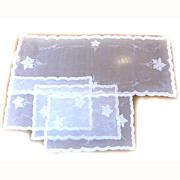 Organdy Runner 3 Placemats Applique GRAPES Leaves
