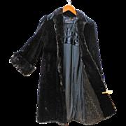 REDUCED Seal Full Length Fur Coat Black Merit Furs Ladies Small HOLLYWOOD Glam
