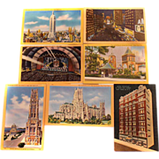 Seven Alfred Mainzer Photochrome UNUSED Postcards NYC SCENES 1950s