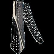 """Lord & Taylor Men's Tie 100% Italian Silk Op Art 4"""" Wide"""