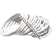 15 Row Milk Glass CUFF Beaded Coil Memory Wire WRAP Bracelet 2 1/2""
