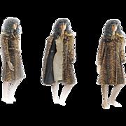 REDUCED 1960s MOD Elegante Mink Fur Coat Fox Collar BELT A Line DOUBLE BREASTED Belt ...