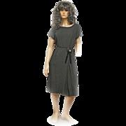 1940s Original Blakely Fashions Black Velvet Trimmed Crepe Dress Rosette AURORA BOREALIS Butto