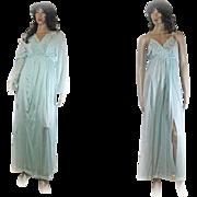 1960s Gilead Peignoir Two Piece Gown NIGHTGOWN Robe Turquoise NYLON Size Medium