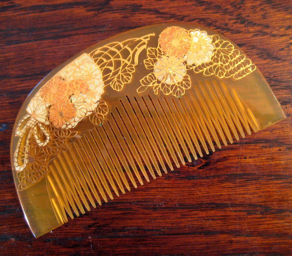 Vintage Japanese Honey Celluloid Geisha Hair Comb Circa