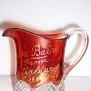 SALE Ruby Stained Buttons Arches Souvenir Creamer 1925 Calgary Alberta