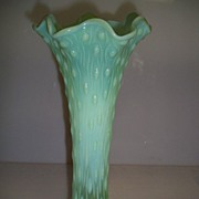 SOLD NorthWood Tree Trunk Vase Blue Green Opalescent
