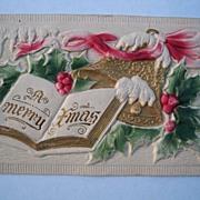 SALE Vintage Embossed Egg Carton Christmas Postcard Bells Holly