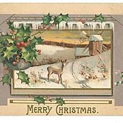 SALE Vintage Embossed Christmas Postcard Deer Field Windmill MAB