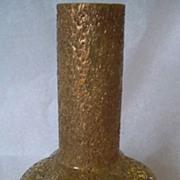 SALE Antique Harrach Gold Frit Glass Vase Lemon Yellow