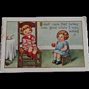 SALE Thanksgiving Postcard  Children Apple