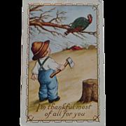 SALE Thanksgiving Postcard  Small Boy Axe Turkey