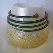 REDUCED Kralik Vase Gold Frit Green Thread on MOP Glass