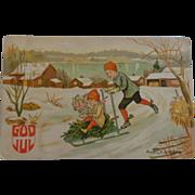 SALE Norwegian Christmas Postcard God Jul Merry Christmas