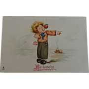 SALE Tuck's Halloween Postcard Boy Apple on String Candle