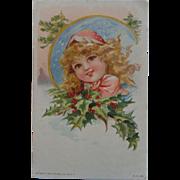 SALE 1908 Christmas Postcard Little Girl Holly Gray Lith Co