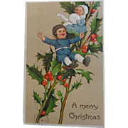 SALE Christmas Postcard Embossed Children Holly 1909 Germany