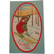SALE Norwegian Christmas Postcard God Glaedelig Jul Joyful Christmas