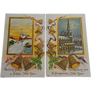 SALE 2 Happy New Year Embossed Postcards Bells Church