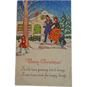 SALE Christmas Postcard Family Snow House