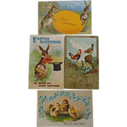 SALE 4 Easter Postcards Bunny Eggs Chicks Hens 1908 1909