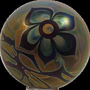 Signed Craig Zweifel Art Glass Paperweight Floral Iridescent 1976