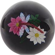 William Manson Caithness Glass Paperweight Dragonfly & Flowers 1982 LE