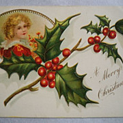 SALE Christmas Postcard Embossed Girl Holly 1908