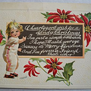 SALE Christmas Postcard Embossed Child Chalkboard 1915