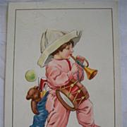 SALE Vintage Christmas Postcard 1916 Embossed  Child Toys Pajamas