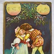 SALE Vintage Christmas Postcard Embossed  Children Kissing