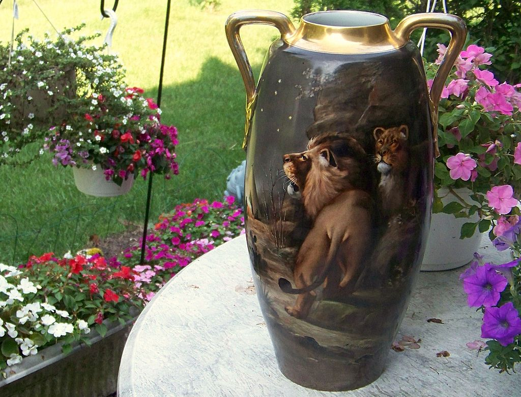"""Spectacular 1900's Hand Painted """"Lion & Lioness"""" 17-1/2"""" Vase by the Pickard Artist, """"Adolph Heidrich"""""""