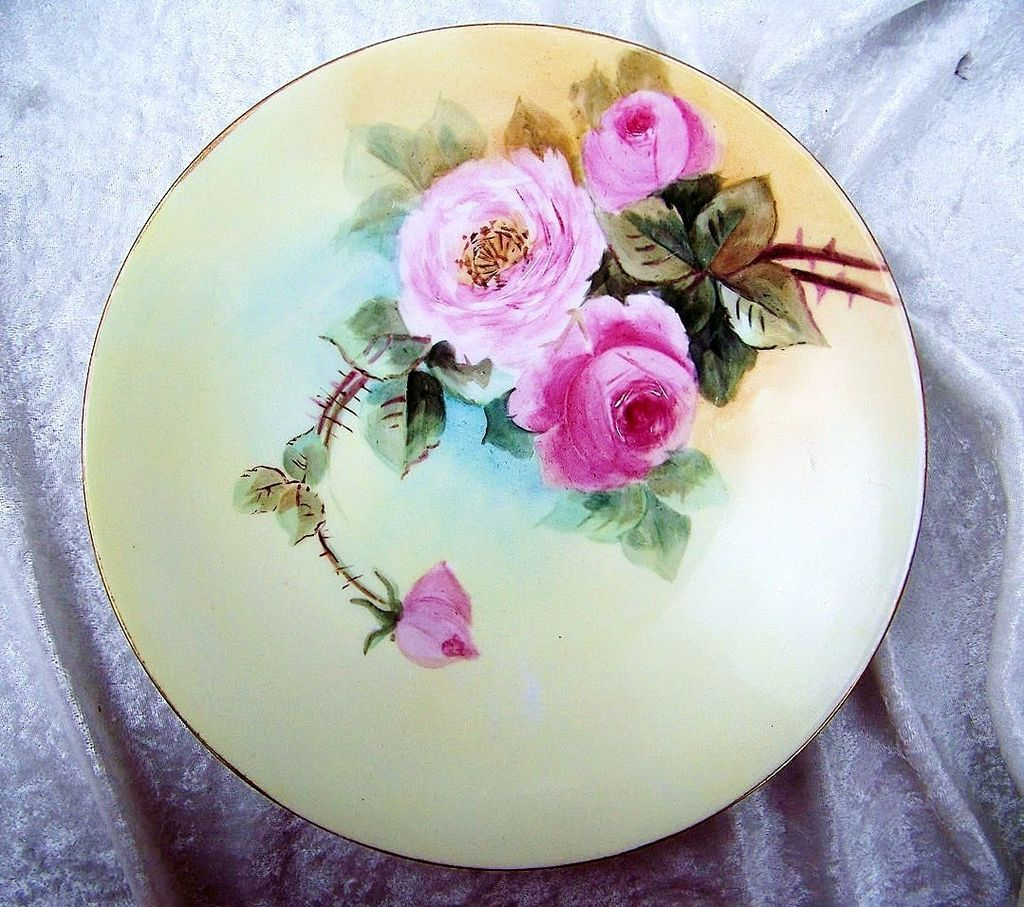 "J.P.L. France Limoges 1900's Hand Painted ""Red & Pink Roses"" 9"" Plate"