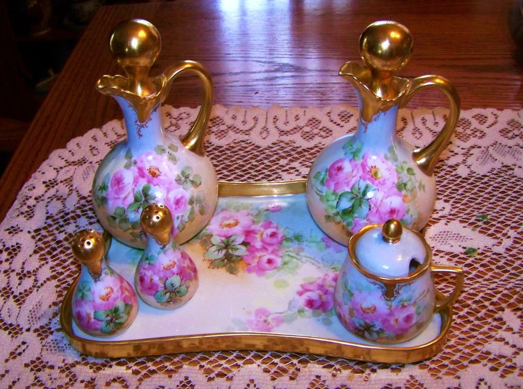 "Spectacular 1900's  European Hand Painted ""Wild Pink Roses"" 9 Pc.Condiment Set by Chicago Decorator, ""Kimmel"""