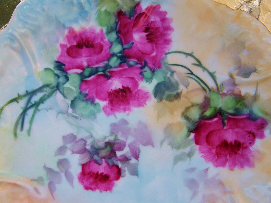 "Superb Vintage 1900's Limoges France Hand Painted ""Red Roses"" 8-3/8"" Plate"