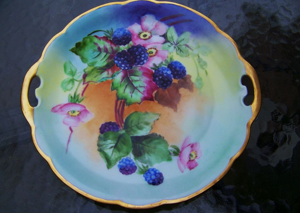 """Royal Crescent China Bavaria 1900's Hand Painted """"Blackberry"""" 10"""" Plate by the Artist, """"Robinson"""""""
