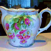"SALE Beautiful RS Prussia 1900's ""Red & White Daisies"" 6-1/4"" Cider Pitcher"